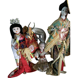 Lot of three antique Asian dolls