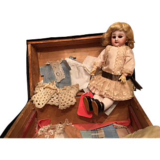 Tiny French DEP Doll with trunk and clothes