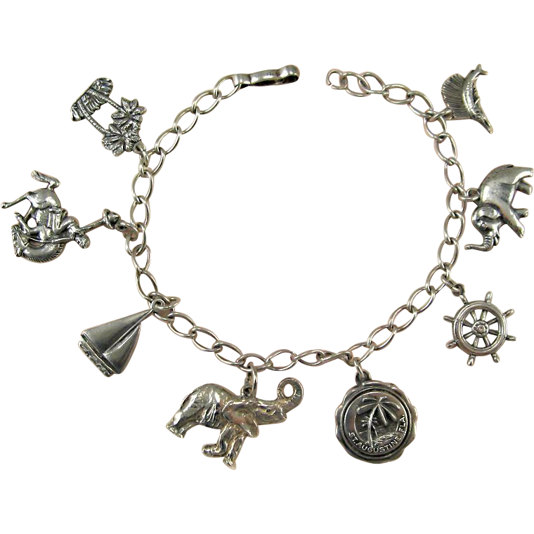sterling silver charm bracelet nautical theme sold on ruby