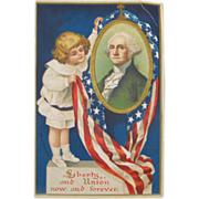 Young Girl George Washington Portrait Embossed Patriotic Postcard