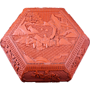 19th Century Large hexagonal red cinnabar covered lacquer box