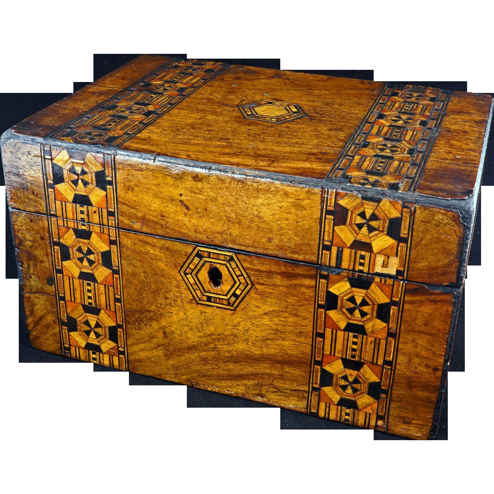 Tunbridge marquetry wood box 19th century from bearraven ...