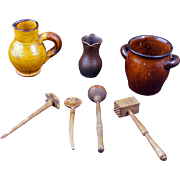 Set of German children's miniature pottery kitchen vessels with wooden utensils late 19th century