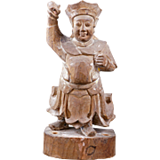 Chinese wood carving of a guardian 19th century