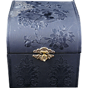 Victorian black fabric covered collar box 19th century