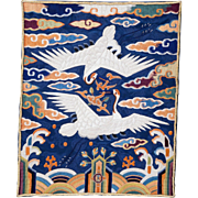 Korean embroidered rank badge for a civil official late Joseon dynasty c late 19th century, early 20th