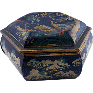 Large hexagonal Asian-themed lithographed lidded tin metal box late 19th century