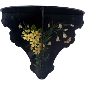 Victorian Aesthetic Movement black lacquer folding wall shelf with floral designs late 19th century
