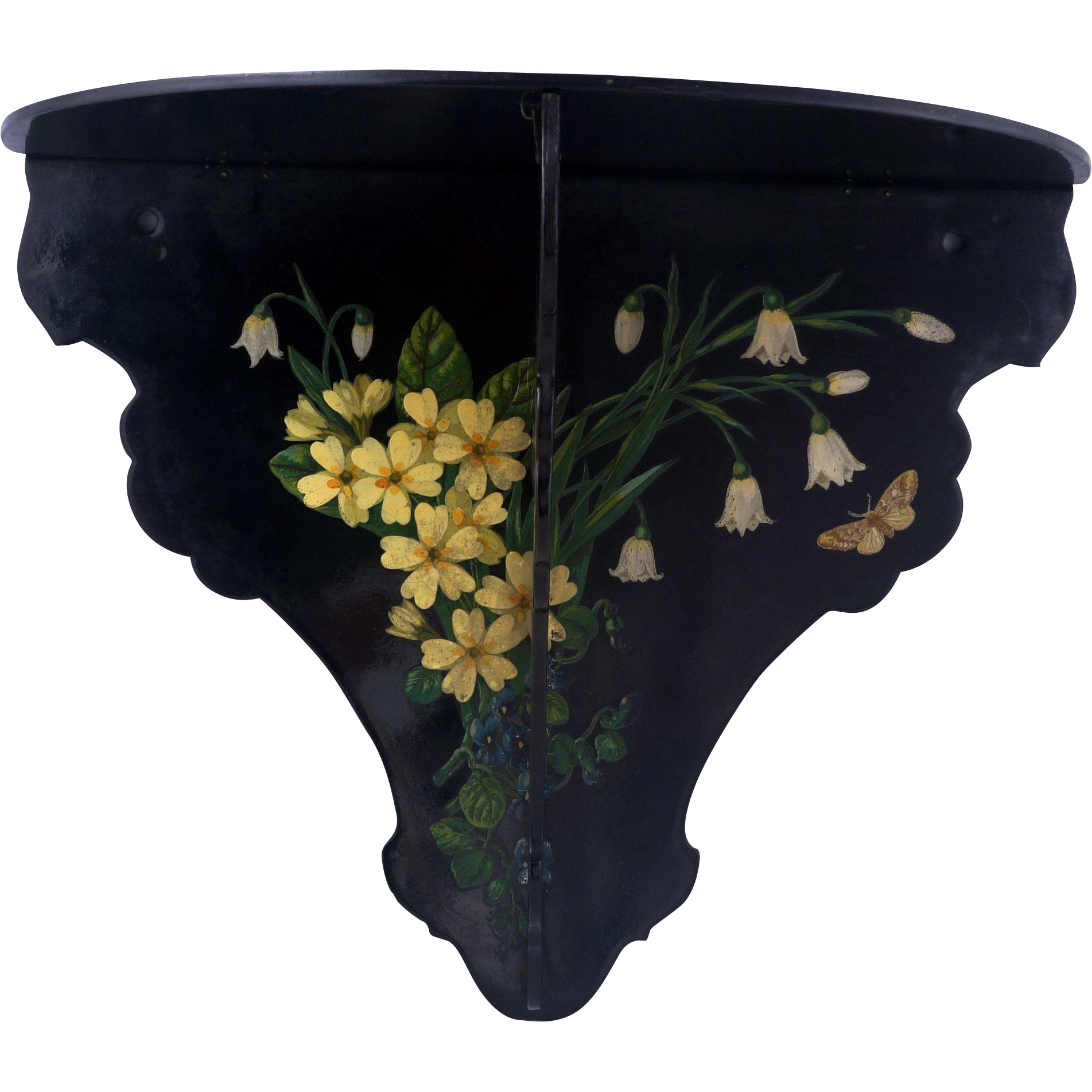 victorian aesthetic movement black lacquer folding wall shelf with from bearraven on ruby lane