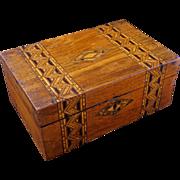 English Tunbridge wood marquetry box 19th century