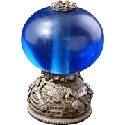Chinese mandarin hat finial with blue glass bead 19th century