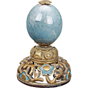 Chinese Mandarin hardstone hat finial with filigree wood stand - 19th century