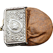 Victorian silver plate and leather advertising coin purse late 19th century