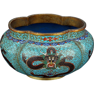 A quatrelobed Chinese cloisonné enameled dragon bowl Lao tianli zhi mark 19th C late Qing dynasty