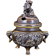Japanese bronze censor with Buddhist panels 19th century