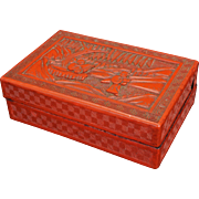 Chinese cinnabar rectangular lacquer box on wood 19th century