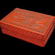 Chinese cinnabar rectangular lacquer box on wood 19th century