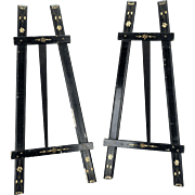 Matched pair of Aesthetic Movement black table easels late 19th century