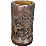 Chinese carved wood bamboo brush pot bitong 19th century