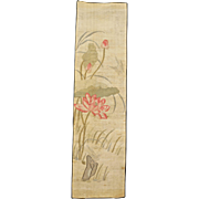 Chinese long narrow Kesi panel of lotus and birds 19th century