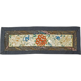 Chinese sleeve panel in satin stitch and pekin knot 19th century