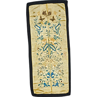 Chinese silk mirror image embroidered sleeve panels of goldfish and water plants 19th century