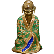 Chinese brass figure of a Buddha or bodhisattva with enameling 19th century