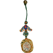 Chinese fabric, bell and glass hanging ornament 19th century