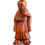 Fine late 19th C Chinese wood carving of immortal Shou lao - God of longevity
