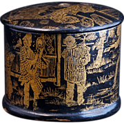 Victorian Aesthetic Movement simulated lacquer pin container with a Japanized scene in gold late 19th century