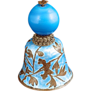 Chinese Mandarin hat finial with blue Peking glass, made into an enameled bell 19th century