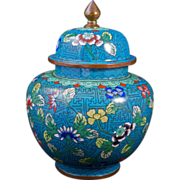 Chinese blue and green cloisonné ginger jar with lid circa 1900
