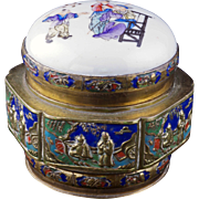 Chinese brass and enamel box with a re-purposed old porcelain paste box lid early 20th century