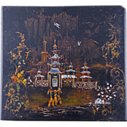 Late 18th / early 19th century Chinoiserie European papier mache lacquered panel inset with mother of pearl