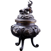 Japanese bronze censer Koro with animal panels and lion finial 19th century