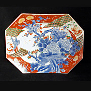 Octagonal Japanese Imari porcelain platter with tree, blossoms and birds