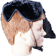 Vintage 1950s black velour cocktail hat