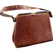 Vintage Dark Brown Alligator Purse/Handbag c 1964
