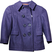 Child's Vintage Wool Navy Pea Coat