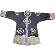 Chinese small black silk women's robe with satin stitch pheasant and grain design circa 1900
