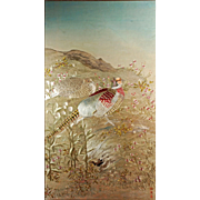 Korean Embroidered Chasu Panel of pheasants on silk 20th C