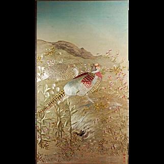 Korean Embroidered Chasu Panel of pheasants on silk 20th C
