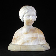 Italian white marble bust of young woman on an alabaster base circa 1910