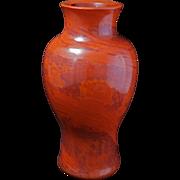 Large urn shaped Chinese realgar Peking glass vase late 19th century