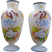 Pair of large pale yellow hand painted Bristol glass vases with floral designs late 19th century