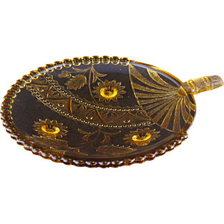 EAPG Victorian Aesthetic Movement amber glass card receiver in the shape of a Japanese fan circa 1870