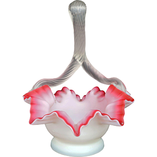 Victorian cased cranberry blow glass bowl with twisted clear glass handle late 19th century