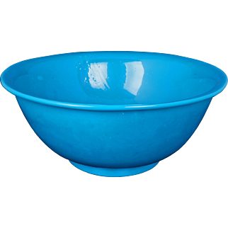 Antique Qing 19th century Chinese large turquoise Peking glass bowl or punch bowl