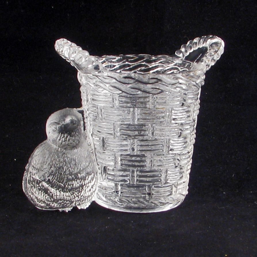 Antique Victorian Pressed Glass Match holder of a Basket and Chick c1900