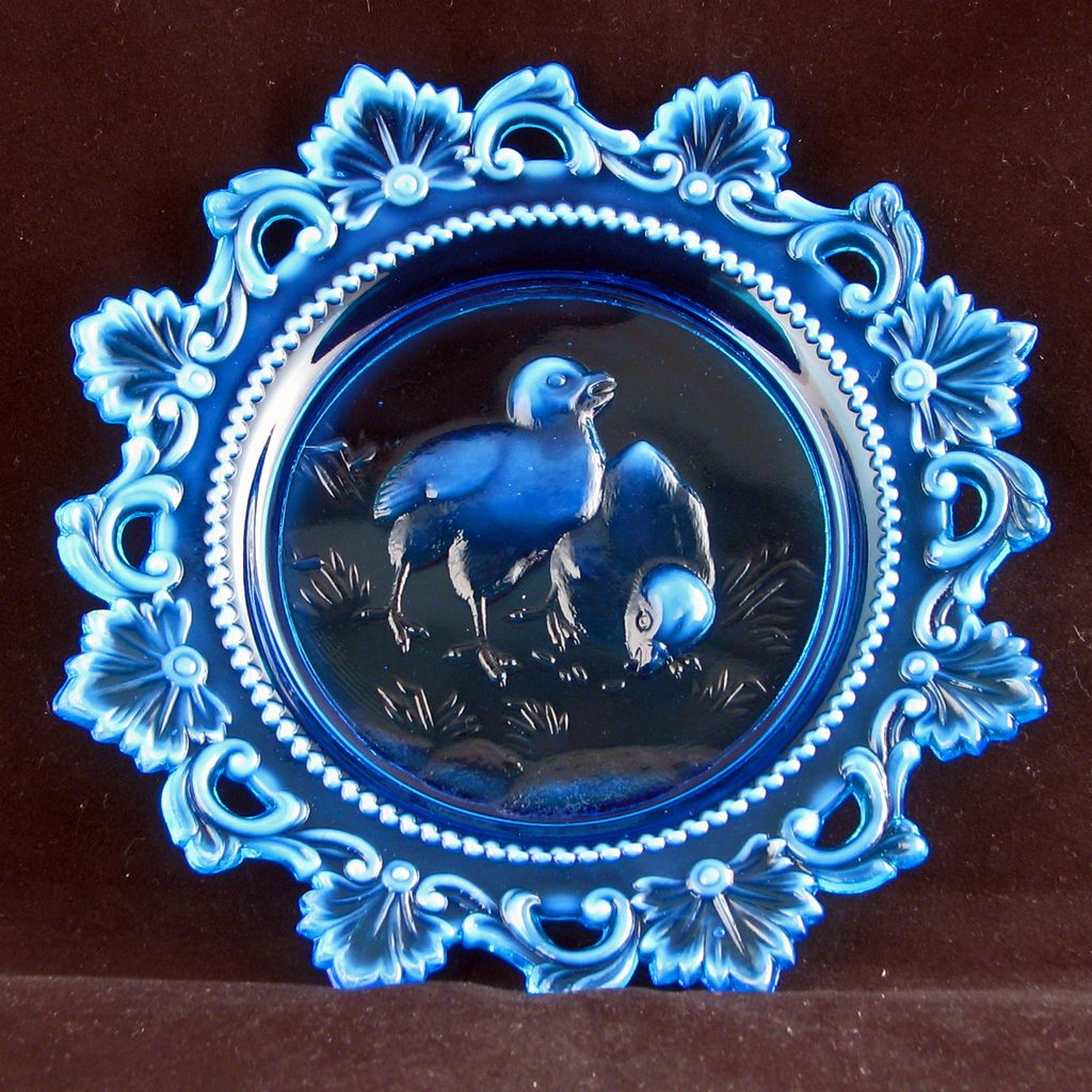 Victorian blue opalesque glass fancy edge child's plate circa 1910
